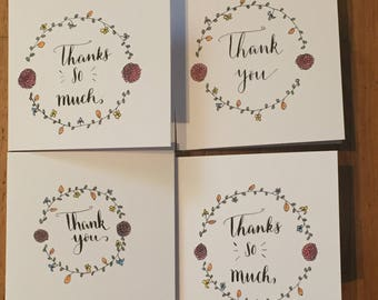 Pack of 4 handmade thank you cards