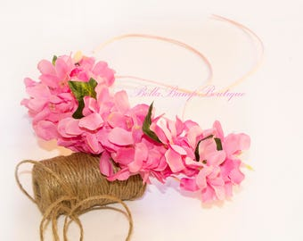 PINK FLOWER CROWN  / flowergirl/ flowercrown /