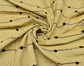 "Unusual Cotton Vintage Yardage Mellow Yellow With Black Heavy Thread Woven Creating Slubs Across the Width Imported 4 1/2 yards 40 "" Wide"