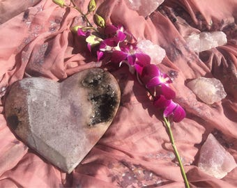 RARE and gorgeous Pink Amethyst with Black Amethyst polished into a heart. Extra Large 6.2lbs