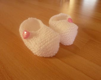 Set of 3 pairs of baby booties, hand-made in 0-3 months