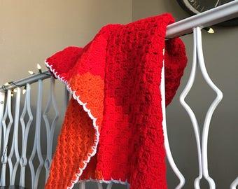 Crimson-Candy-Mandarin Gender Neutral Baby Blanket