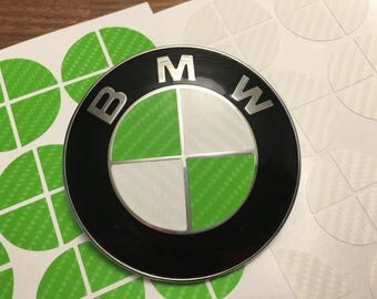 Green and White Carbon Fiber Vinyl Overlay Decal for ALL BMW Emblems