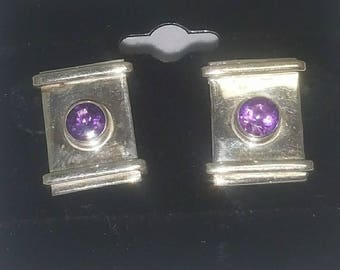 Sterling Earrings with Purple Stones