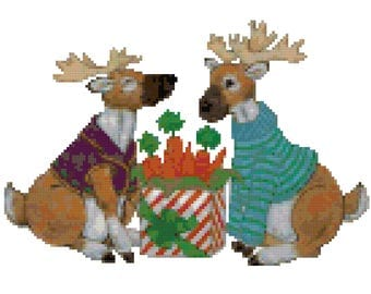 A Reindeers Gift Counted Cross Stitch Pattern PDF Download