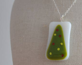 Fused Glass Pendant - Christmas Tree