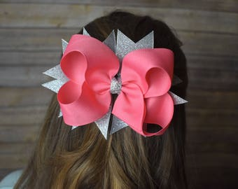Pink boutique bow - stacked boutique bow - hair bow pink - pink hair bow - best selling hair bows - girls hair bows large - holiday hair bow