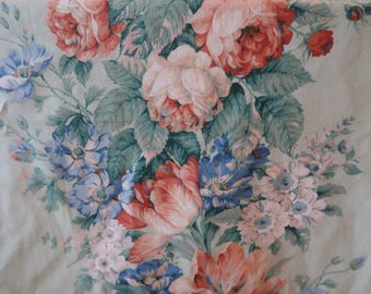 "Vintage Arthur Sanderson floral chintz curtain fabric ""Anastasia""1985, mint green, 4.24 metres by 140 cm"