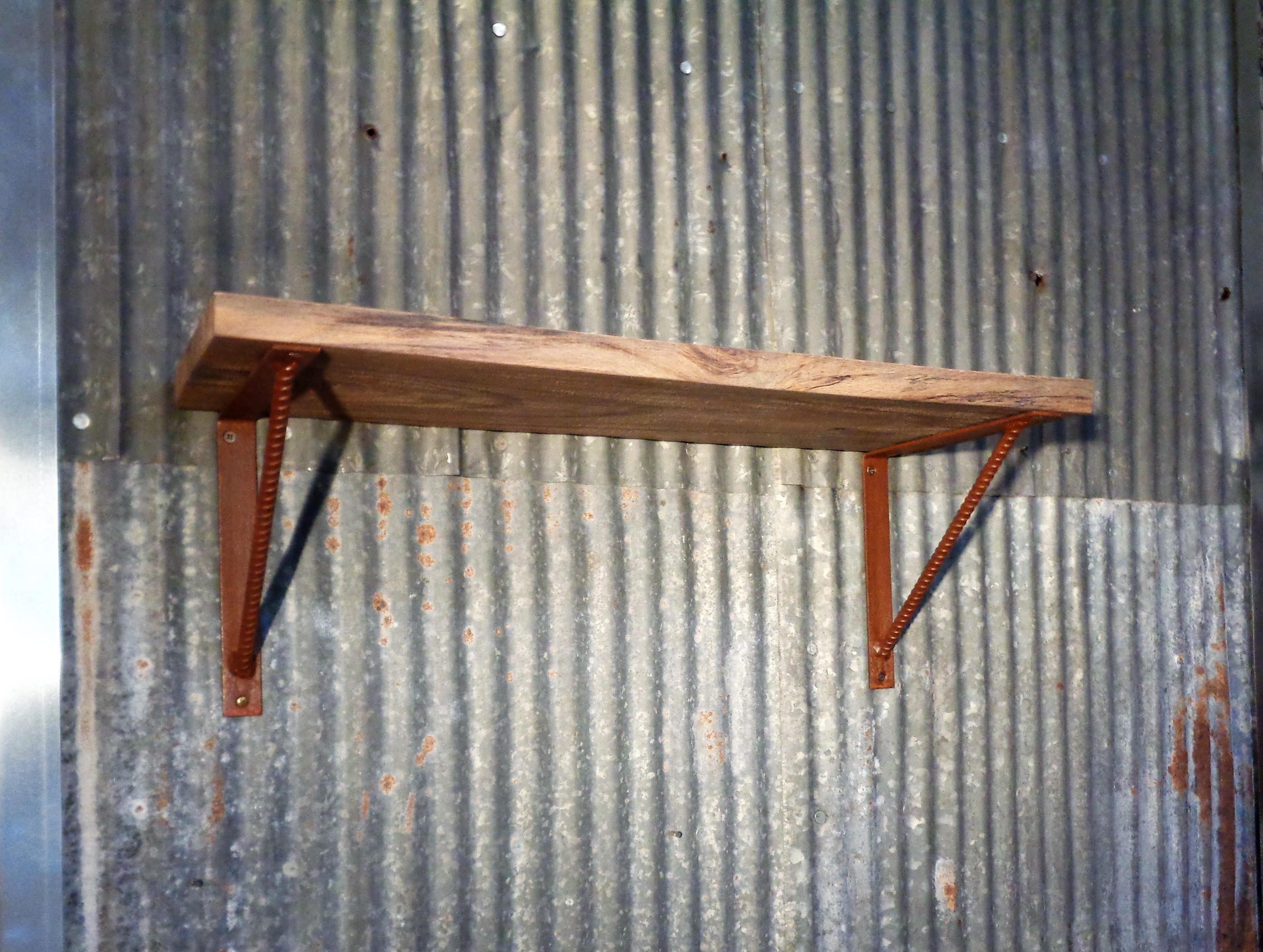 Rose Gold Shelf Brackets: Custom Made Rustic Home Decor Solid 24 Spalted Oak Shelf