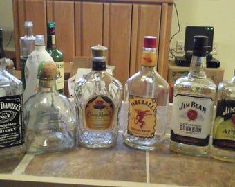Various liquor (6) 1.75 empty bottle for crafts