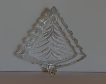 Vintage Clear Glass Christmas Tree Dish, Vintage Clear Glass Christmas Tree Candy Dish, Christmas Candy Dish, Christmas Tree Candy Dish