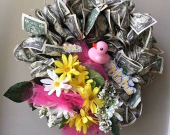 Baby Gifts: Wreath Made with real US Dollar Bills and Silk Flowers
