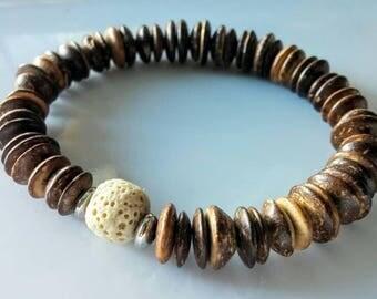 Coconut and lava stone bracelet.