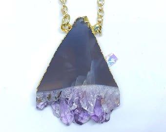 Violet Crystal Necklace in Gold