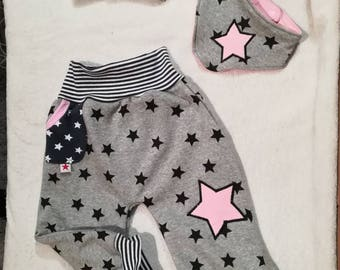 3 pcs. Set of cap, cloth and bloomers from cuddle-sweat