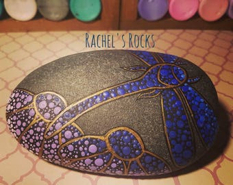 Ombre dragonfly. Hand painted stone. Approx 5 inches by 3.5 inches.