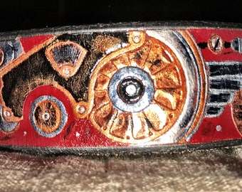 Steampunk Red Martingale Dog Collar Leather