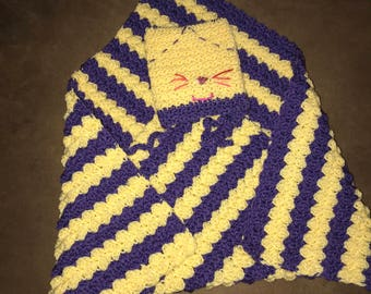 Yellow and Purple Baby Blanket & Hat