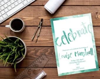Printable watercolour Birthday party invitations