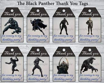 INSTANT DOWNLOAD- The Black Panther thank you tags,The Black Panther party, The Black Panther birthday