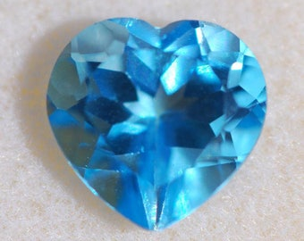 Swiss Blue Topaz , Faceted Heart, 10.1mm x 10.1mm, Excellent Cut and Polish, 4.35 ct.