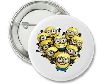 2.25 Inch Pin Back Button - Minions,  - FREE SHIPPING