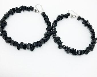 Black Hoop Earrings, Black Obsidian Earrings, Large Earrings, Big Hoop Earrings, Statement Earrings, Beaded Hoops, Obsidian Jewelry, Boho