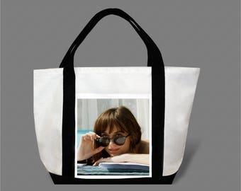 Dakota Johnson Jamie Dornan Canvas Tote Bag #0008