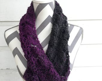 lacy purple and gray ombré twisted cowl