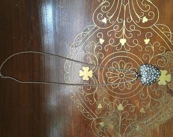 Costume heart pendant necklace with costume crystal