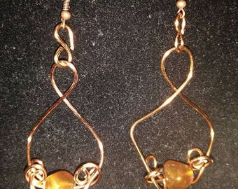 Copper Fused with Amber Beads