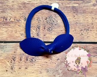 Leather Bow Headband/Infant Headband/Toddler Headband/Nylon Headband/Leather/Headband/Hairband