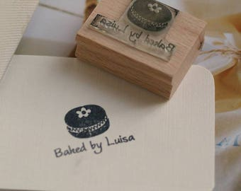Personalised 'Baked By' Macaroon Rubber Stamp, Baking Rubber Stamp