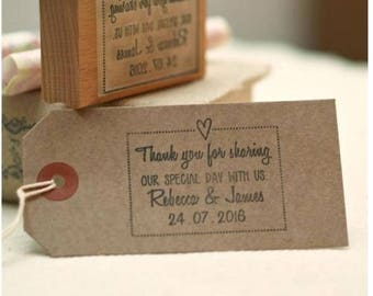 Personalised Wedding Favours ' Thank you for sharing our special day ' stamp