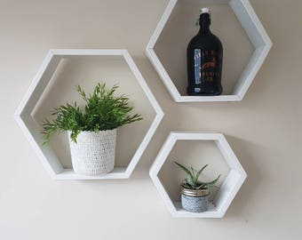 3 Wood Honeycomb hexagon shelves (white)