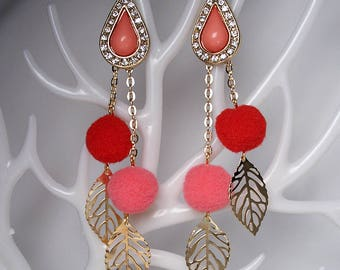 STATEMENT Drop Red Pom-Pom Gold Leaf Earrings For Holiday Party Special Occasion