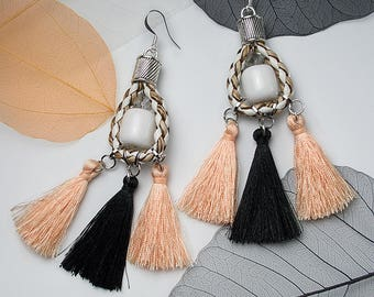 STATEMENT Cord Drop Tassel Silver Earrings For Holiday Party Special Occasion
