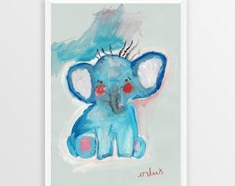 Little Elephant - A3 Art Print