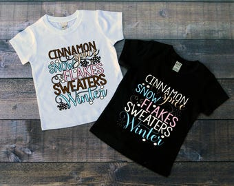 Children's Tee Shirt, Cinnamon Spice Snowflakes Sweaters Winter, Kid's T-Shirt, Black or White Tee, Infants, Toddler, Youth, Girls Winter