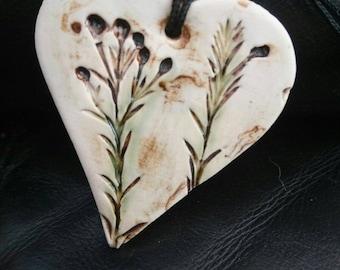 Handmade ceramic botanical textured  rustic  heart pendant/keepsake./gift/Handmade jewllery making supplies.