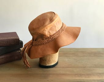 Vintage Brown Leather Hat