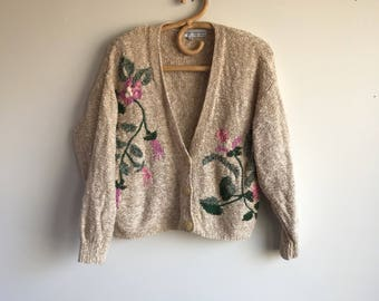 Linen Blend Brown Embroidered Cardigan Sweater, Size Large