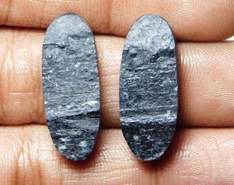 Pair ! A+++ ! Black tourmaline Druzy Loose Gemstone, Gorgeous black tourmaline Druzy Cabochons Excellent Gemstone 36.35cts, (26x10x5)mm.