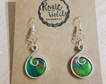 Christmas polymer clay/wire drop earrings
