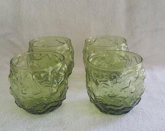 4 moss green / avocado Anchor Hocking Milano Lido whiskey/drinking  glasses.