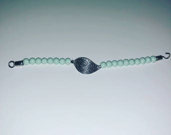 Beaded Bracelet with a Leaf