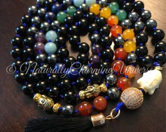 Handcrafted Genuine 108 Buddhist Mala Chakra Prayer Tassel Necklace
