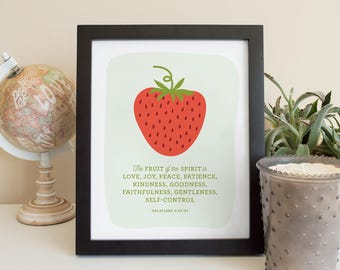 Fruit of the Spirit Bible Verse // Strawberry illustration // Nursery or Children's Wall Art