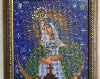 Ostrobramska bead embroidered icon