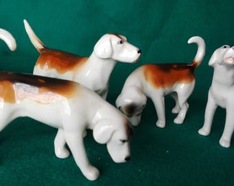 Miniature dogs breed foxhound, porcelain Beswick